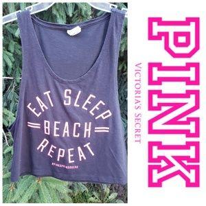 VS Pink Eat Sleep Beach Repeat Crop Top Tank XS